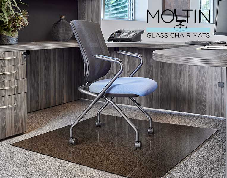 modern office with chair on glass mat